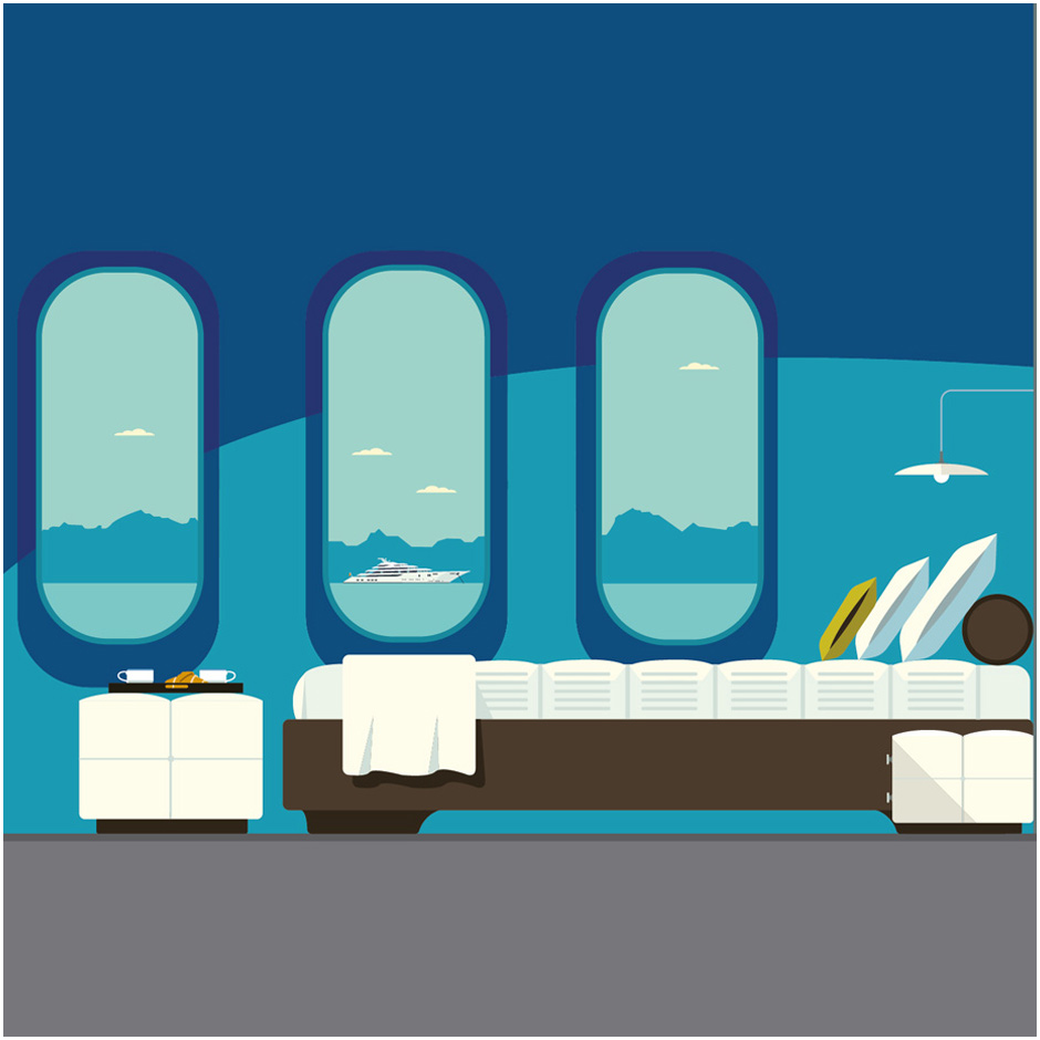 Illustration of a luxury bedroom looking out at the sea