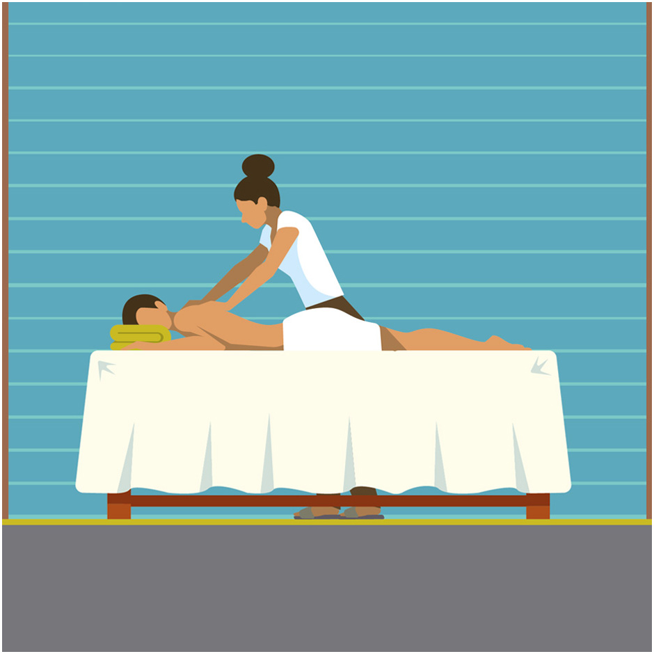 Illustration of a customer having a massage