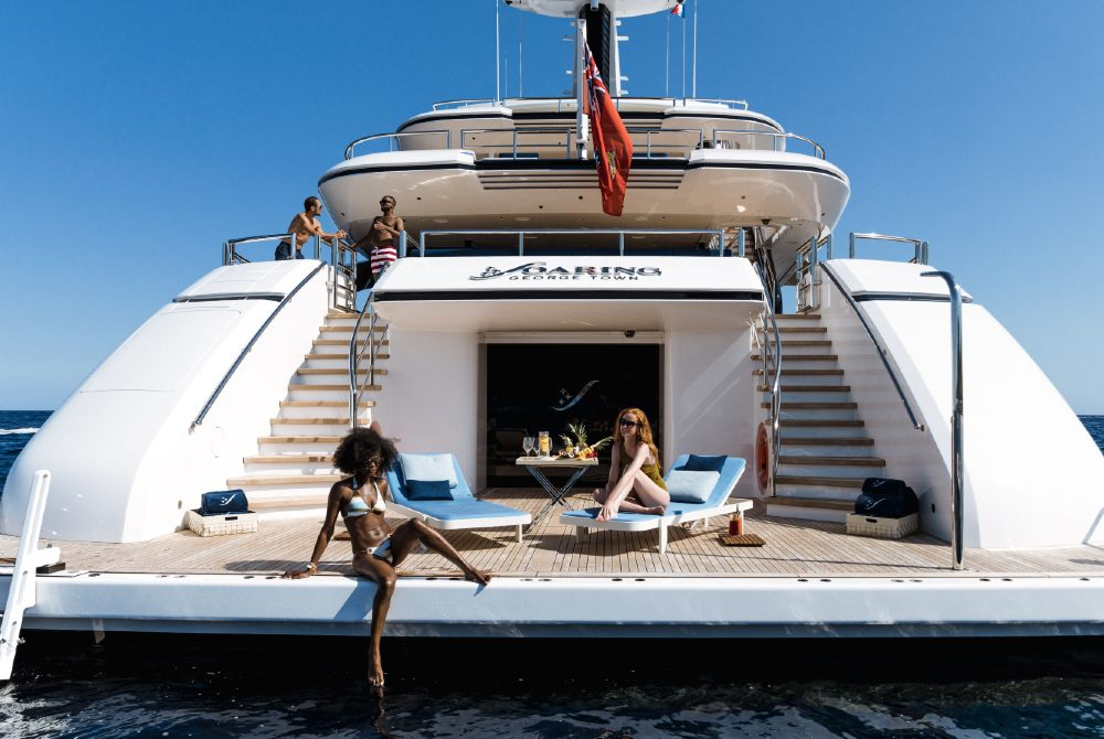 Luxury yacht beach club