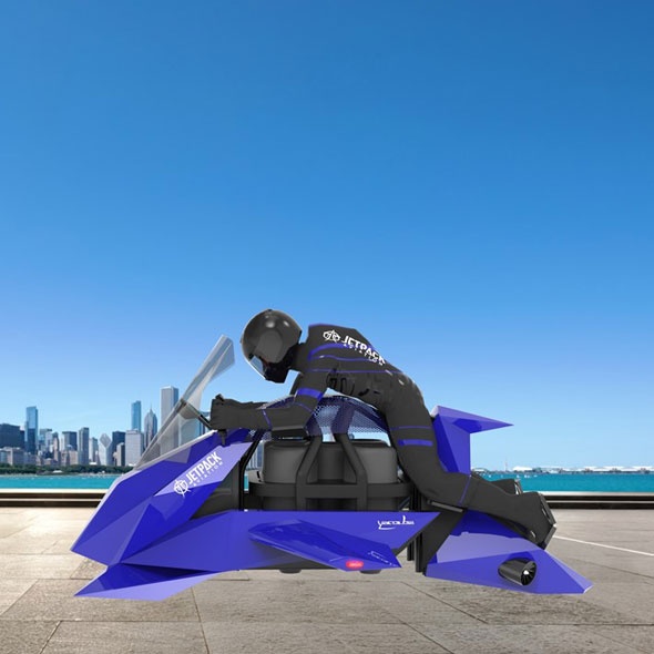 CGI drawing of diver sitting on speeder flying motorcycle