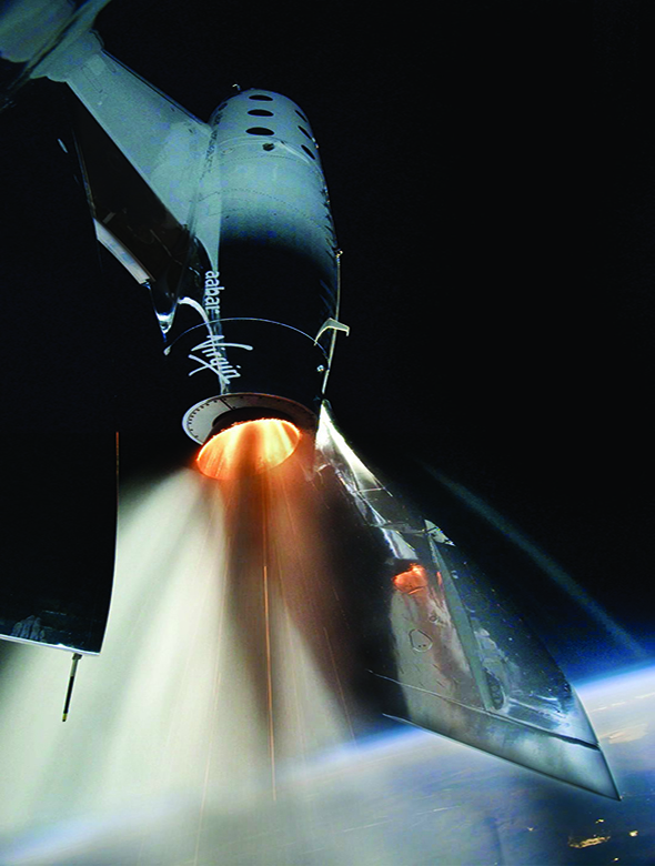 Virgin rocket in space with earth in view