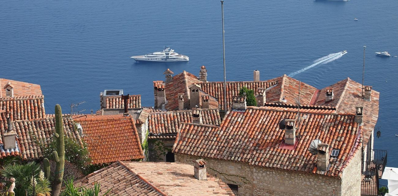The perched village of Eze near Monaco with its distinctive red tile roofs is wonderful to explore