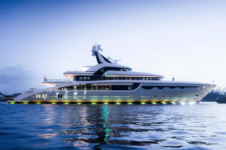 Abeking & Rasumussen superyacht SOARING at launch