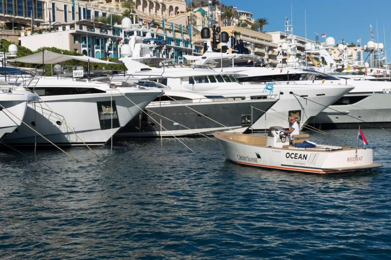 Ocean Independence tender next to yachts at the Monaco Yacht Show