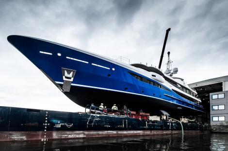 Amels motor yacht NOMAD at shipyard
