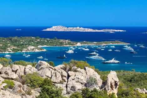 Yachts in a bay in Cala di Volpe Italy