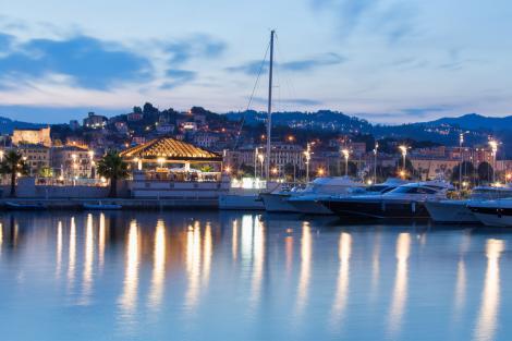 Porto Mirabello marina at night