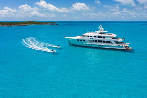 A secluded yacht with Jetskis