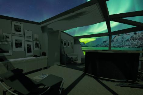 Interior night cgi drawing, furnished pod