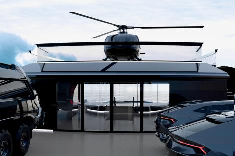 Motoryacht Esquel sleek black exterior with cars parked on deck and helicopter