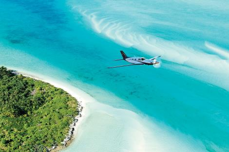 Plane flying over Exumas