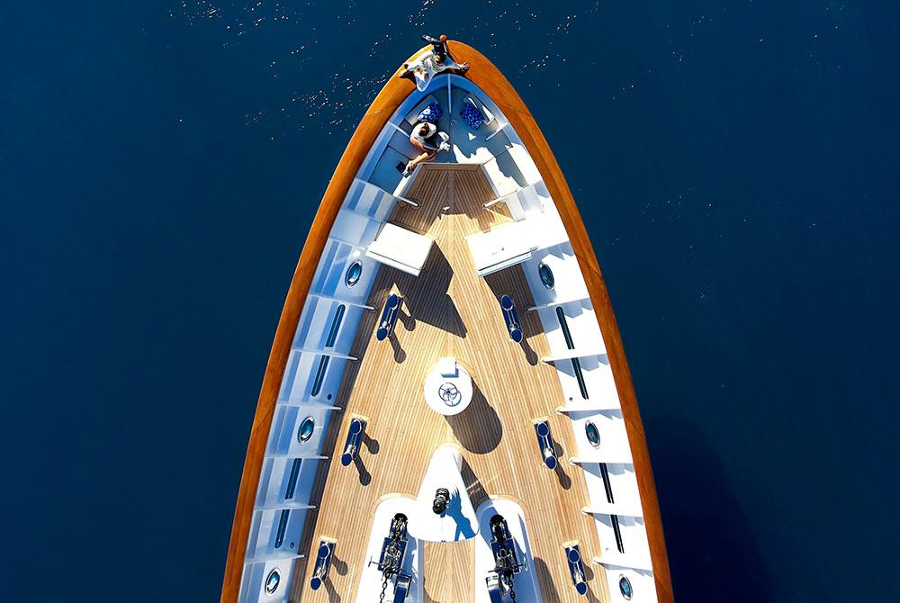 An aerial view of a luxury yacht