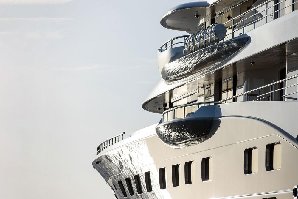 A close up image of a yacht